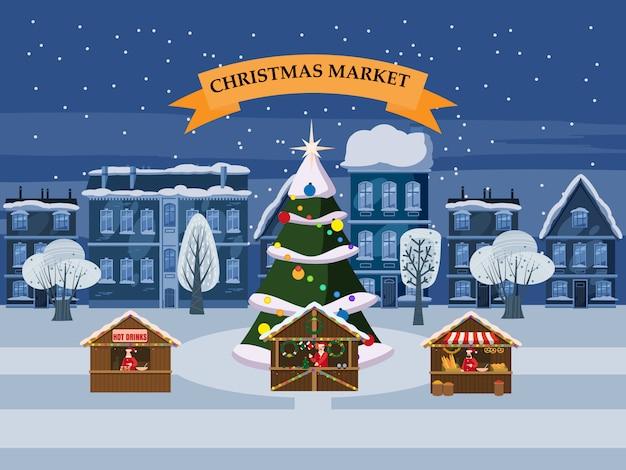 Pueblo navideño con souvenirs puestos de mercado con adornos recuerdos