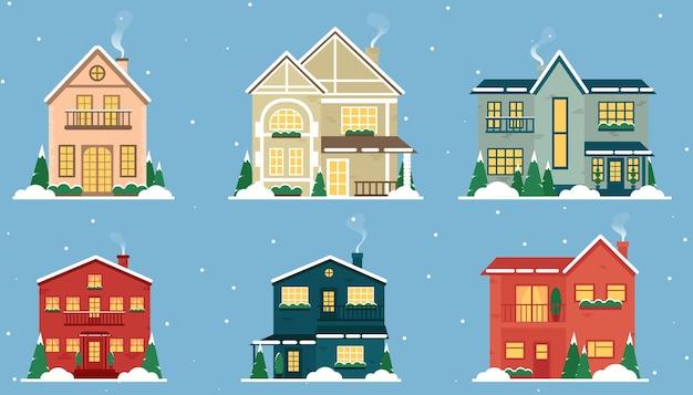 Pueblo nevado de navidad