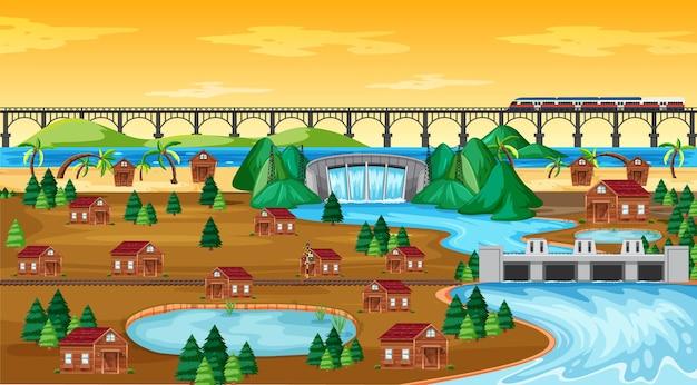 Pueblo o ciudad y escena de paisaje de tren puente en estilo de dibujos animados