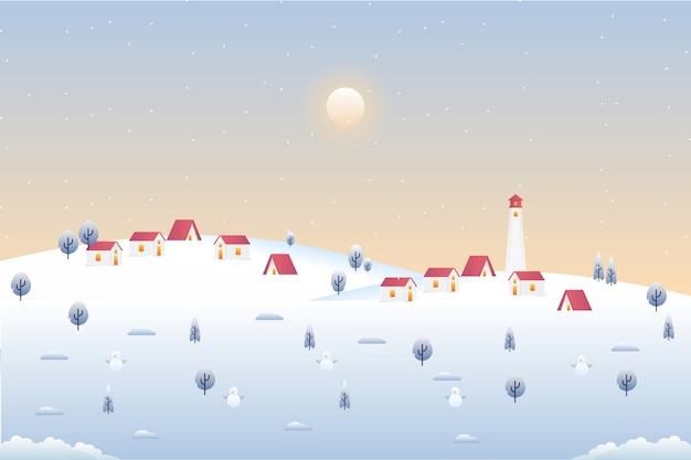 Pueblo de paronama en paisaje de temporada de invierno