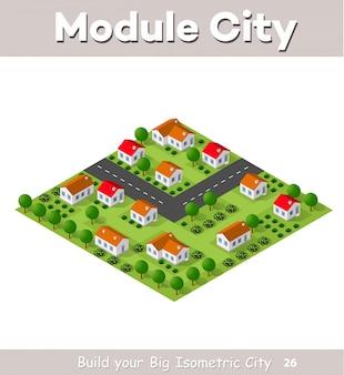 Pueblo rural de casas adosadas y casas rurales con caminos, calles, árboles.