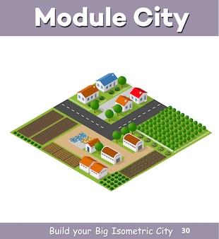 Pueblo rural de casas y casas rurales con carreteras.