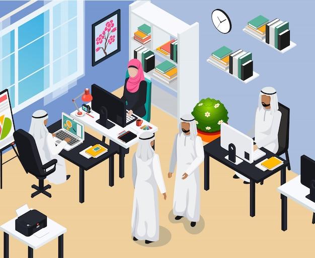 Pueblo saudita en composición de oficina