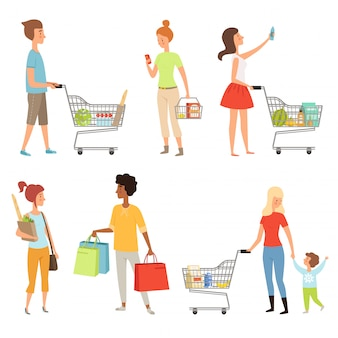 Pueblos de compras. ilustraciones vectoriales de varios personajes que realizan compras