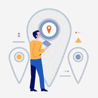 Pueblos de dibujos animados que usan dispositivos de internet como teléfonos inteligentes y computadoras portátiles con el icono de estilo de vida digital. nevigator de ubicación. ilustraciones.