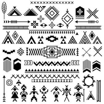 Los pueblos indígenas de las américas símbolos vectoriales elementos étnicos tribales aztecas