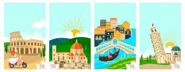 Pueblos italianos viajan pancartas, turismo en vacaciones ilustración de símbolos famosos de la ciudad de italianos y monumentos roma.