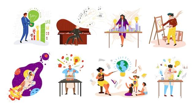 Pueblos profesiones ideas, ocupaciones de trabajo trabajo conjunto con maestro, músico, cocinero, ilustración de hombre de negocios profesional.