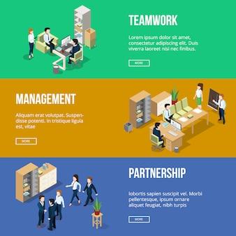 Pueblos trabajando en sus oficinas. lugar de trabajo de empresario.