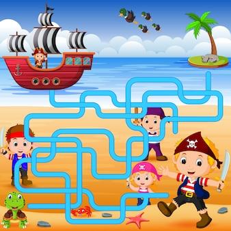 Puedes ayudar al pirata a encontrar su nave
