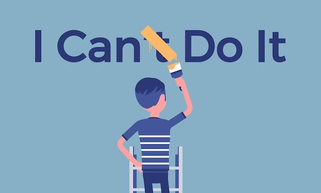 Puedo hacerlo póster motivacional. el hombre corrige la construcción gramatical negativa en una declaración positiva para expresar entusiasmo y voluntad por hacer algo, deseo y energía. ilustración vectorial