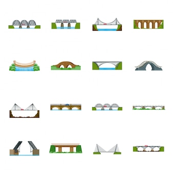 Puente de construcción de dibujos animados icono de conjunto. conjunto de dibujos animados aislados icono arco del río. puente de construcción.