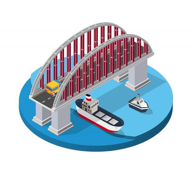 El puente de la infraestructura urbana es isométrico.