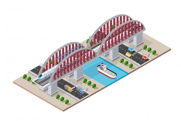 Puente isométrico ferroviario con ferrocarril y alta velocidad.