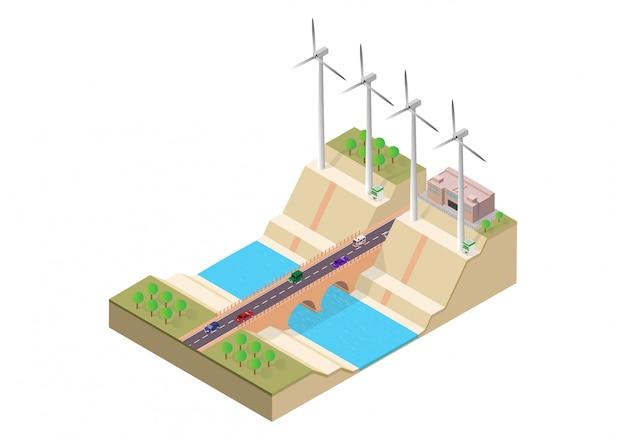 Puente isométrico y molino de viento.
