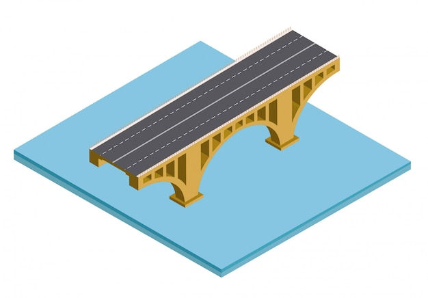 Puente isométrico sobre el río.