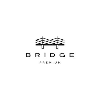 Puente logo icono ilustración línea contorno monoline