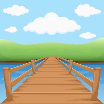 Puente de madera con agua y nubes.
