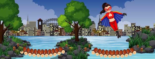 Puente de madera cruzando el río con la mujer maravilla