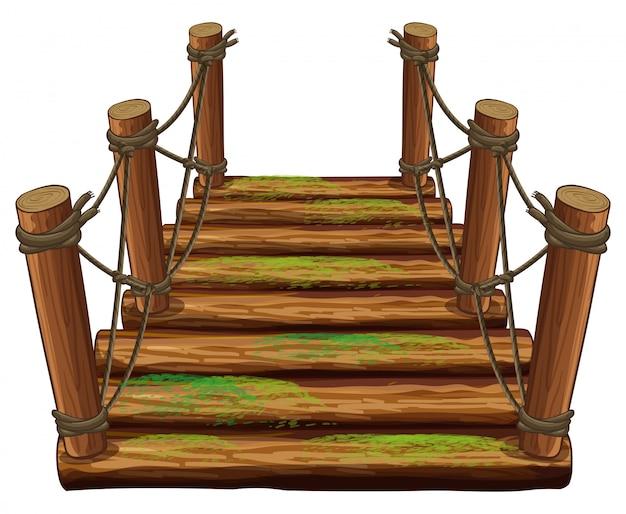 Puente de madera con musgo verde.
