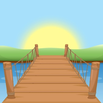Puente de madera con sol y agua.