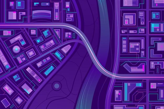 Puente en el mapa de la ciudad