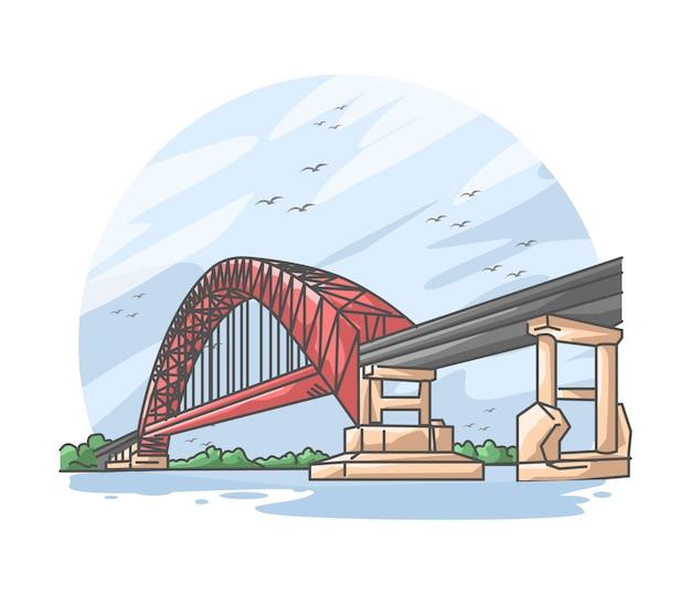Puente rojo sobre el río ilustración de dibujos animados plana