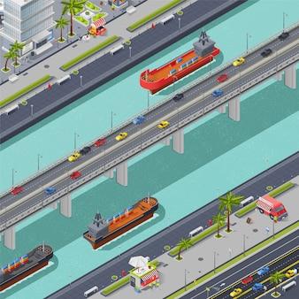 Puentes en la composición isométrica de la ciudad