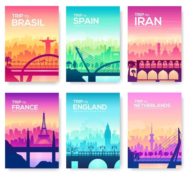 Puentes de diferentes países. silueta al aire libre de plantilla de monumento. calle de la construcción del paisaje urbano.