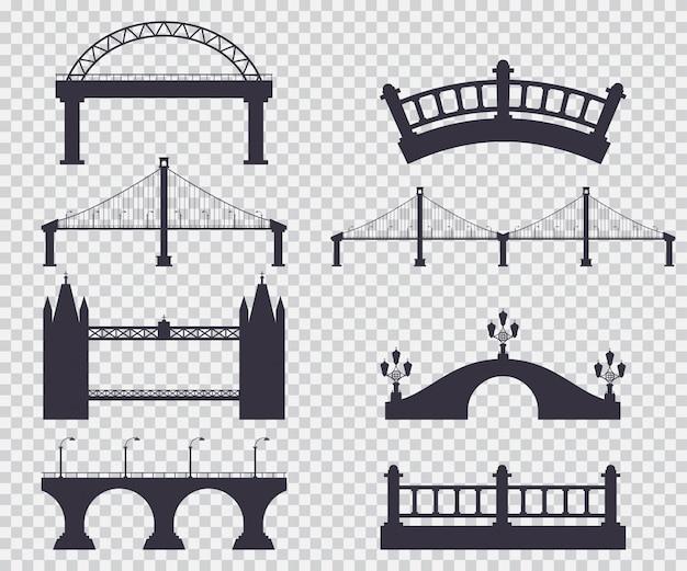 Puentes silueta negra vector simple conjunto aislado