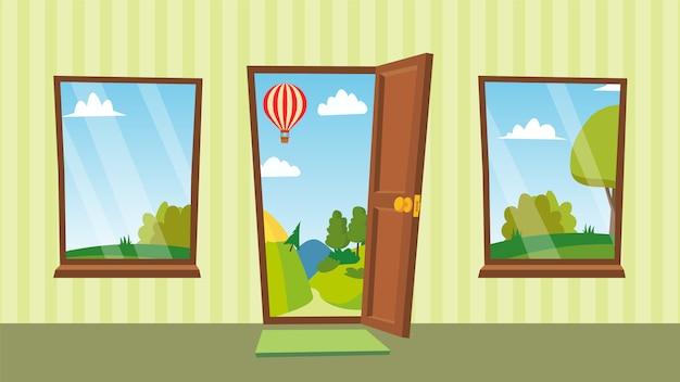 Puerta abierta y ventanas
