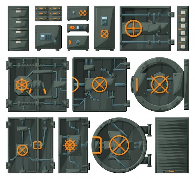 Puerta de almacenamiento conjunto de dibujos animados icono.
