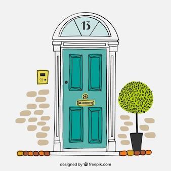 Puerta de casa británica dibujada a mano