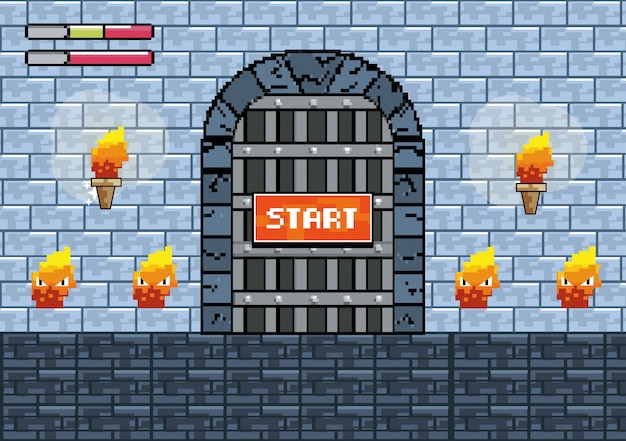 Puerta del castillo con antorchas y personajes de fuego.