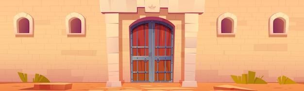 Puerta del castillo medieval exterior del palacio de cuento de hadas