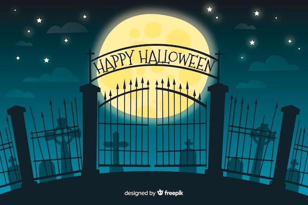 Puerta de un cementerio de fondo de halloween