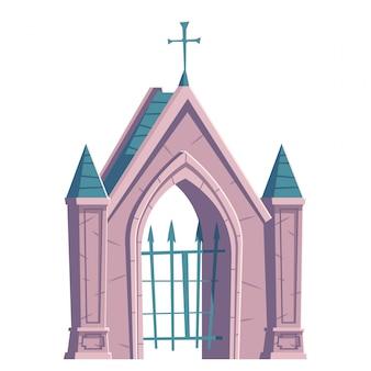 Puerta del cementerio con rejilla metálica y cruz en la parte superior