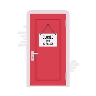 Puerta cerrada con un cartel