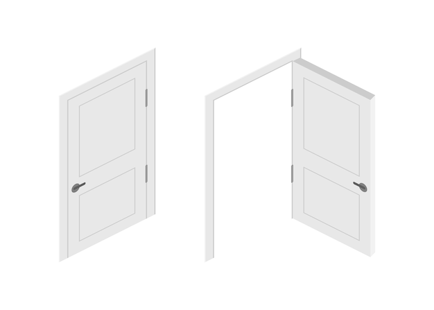 Puerta cerrada con extremo abierto. diseño de interiores. concepto de negocio. vista frontal. concepto de oficina en casa. éxito en el negocio.