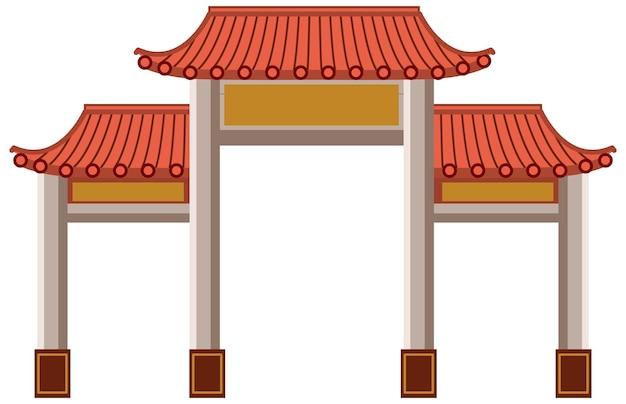 Puerta china o paifang aislado sobre fondo blanco.