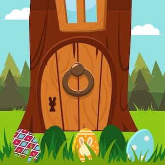 Puerta del conejito de pascua en un árbol con los huevos en la hierba. ilustración de vacaciones de dibujos animados.