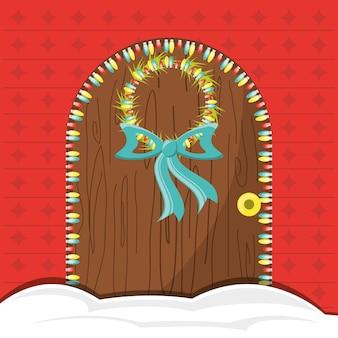Puerta de la casa con diseño colorido de la decoración de navidad