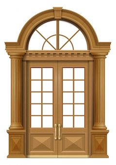 Puerta de entrada clásica de roble