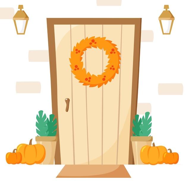 Puerta de entrada con decoración de otoño entrada con guirnalda y calabazas, linternas y plantas en macetas