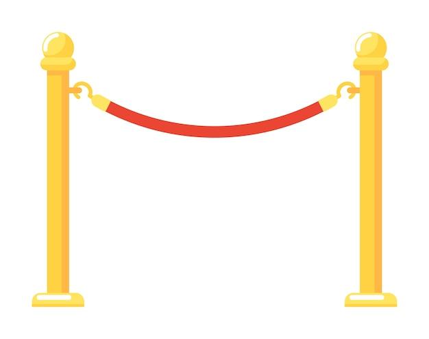 Puerta de entrada de evento de barrera dorada con ilustración de cuerda roja aislada sobre fondo blanco