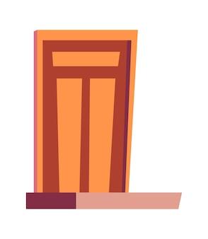 Puerta de entrada y porche, entrada a la ilustración de vector aislado de dibujos animados de casas