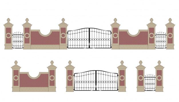 Puerta de hierro forjado con pilares.