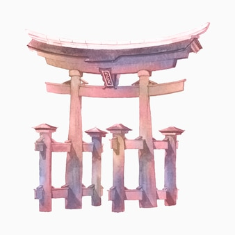 Puerta japonesa torii pintada por acuarela.