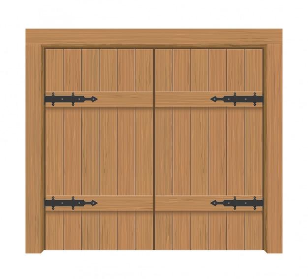 Puerta de madera, apartamento interior cerrado de doble puerta con bisagras de hierro