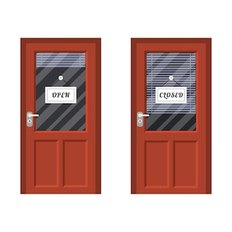 Puerta marcada abierta y cerrada.